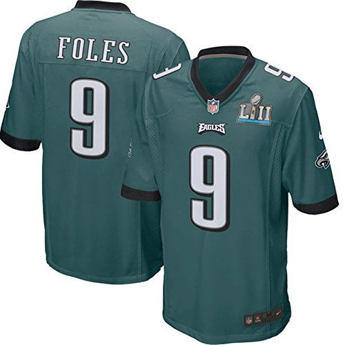 Men's Philadelphia Eagles Trikot 9 Nick Foles Green Super Bowl LII Jersey Size 48(XL) (Top Philadelphia Eagles)