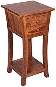 Mamta Decoration Rosewood/Sheesham Wood Bed Side End Table for Living Room | with 2 Drawers & Storage |Lig