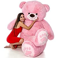 Tedstree Printed Paw Teddy Bear for Girls,Huggable and Soft Teddy Bears,Big Size Latest Pink, 3 Feet