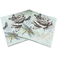 Gysa Servilletas 2 paquetes (20 hojas/paquete) Serie de flores de amor de mariposa Servilletas papel Pulpa de madera nativa Servilletas decoupage Suave y confortable Servilletas papel flores