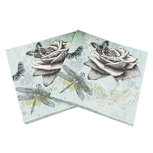 Gysa Servietten 2 Packungen (20 Blatt/Packung) Serie Schmetterling Blumen Servietten Papierservietten Pulpa-Holz Native Servietten Decoupage weich und komfortabel Servietten Blumen 33 * 33cm Stil-1