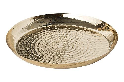 DuNord Design Schale Dekoschale 40cm Gold rund Deko Obstschale gehämmerte Metallschale