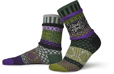 Solmate Socks - Odd or Mismatched Crew Socks for Women or for Men, Made with Recycled Cotton Yarns in USA, Balsam