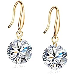 Habors Gold 8Mm Crystal Dangle & Drop Earring For Women - Jfed0570
