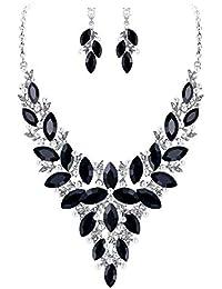 73213fa1efed Clearine Juegos de Joyas de Mujer Perlas Cristal Lágrimas Flor Encaje Collar  y Pendientes para Novia
