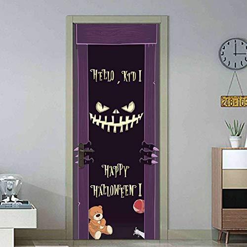 WWDDVH Halloween Dekoration Hände aus dem Grab Kreuz lila Schwarze Nacht Fledermäuse fliegen Tür Aufkleber beängstigend Stil Aufkleber für Schlafzimmer
