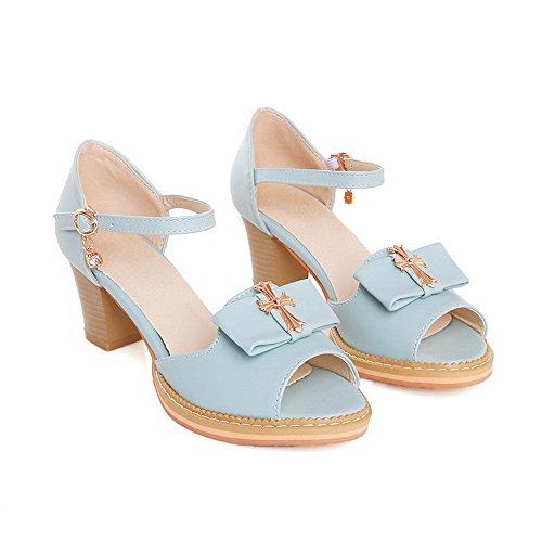 VogueZone009 Donna Luccichio Chiodato Fibbia Tacco Medio Sandali Azzurro