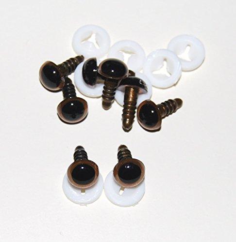 Celloexpress® Stück 4Paar–Glas wie Augen mit Kunststoff Rücken–10mm–Sicherheit Augen für Plüschtiere oder Teddy Bär macht, hellbraun, 10 mm