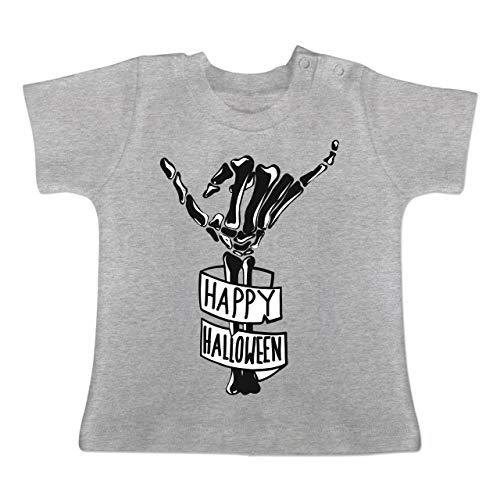 Anlässe Baby - Happy Halloween Skelett Hand - 18-24 Monate - Grau meliert - BZ02 - Baby T-Shirt Kurzarm