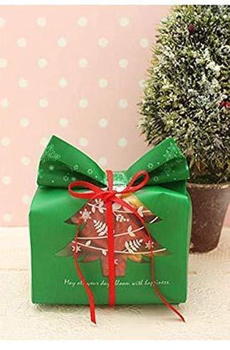 Tb_koop Sac d'emballage de bonbons de 50 pièces/cadeau de Noël, sac de poche en plastique cadeau sacs décoration pour Noël rouge/vert (9.5 x 20 x 6.7 cm)