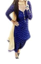 VAANKOSH FASHION WOMENS BLUE NET EXCLUSIVE DESIGNER DRESS MATERIALS
