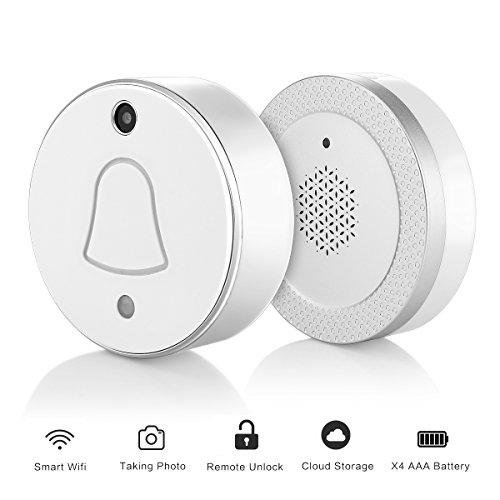 Smart Wireless Lighting (Smart Wireless WiFi aktiviert Klingeln, mit Kamera Paket Wireless RF Empfänger chime- automatisch Takes Bild, wenn die Drücken kostenlos Cloud-Speicher für Ihr Smartphone App Push notificationn mit Visito, silber)