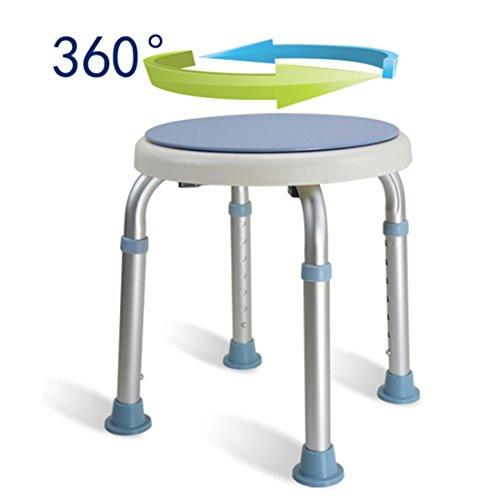 WENTAO Duschhocker Duschstuhl Badehocker 7 Höhenverstellbar Badhocker 360° Drehbar Duschhilfe Duschsitz Badsitz Aus Alu Und Kunststoff