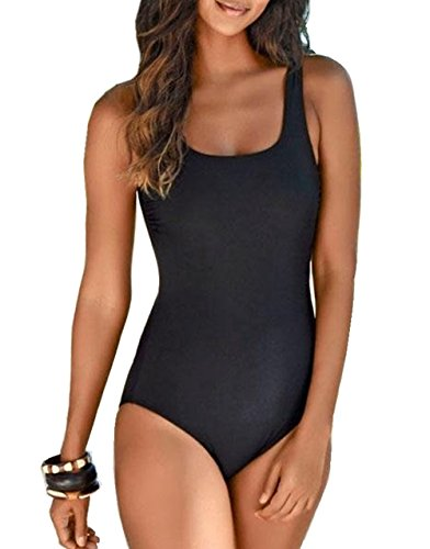 Asskdan Amincissant Sport Bikini 1 Piece Imprimé Tie-Dye Dos Nu Croisé Maillot de Bain Push-up Rembourré (Noir, M)