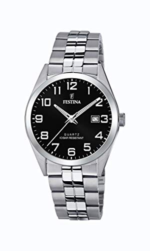 Festina Herren Analog Quarz Uhr mit Edelstahl Armband F20437/4