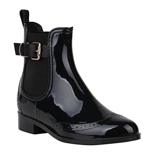 Damen Stiefeletten Chelsea Boots Lack Schnallen Gummistiefel Schuhe 150382 Schwarz Schnallen 41 Flandell