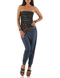 Malito Damen Einteiler mit Punkten   Overall im Jeans Look   Jumpsuit mit  Gürtel   Hosenanzug bec964a403