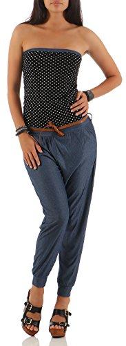 Malito Damen Einteiler mit Punkten | Overall im Jeans Look | Jumpsuit mit Gürtel | Hosenanzug - Playsuit 9651 (schwarz)