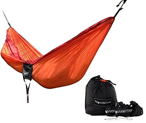 Premium Outdoor Hammock for Hiking, Camping, Backpacking & More - FREE Hanging Straps! - Parachute Nylon Fabric - Compact & Lightweight Set - Bag, Stainless Steel Carabiner, Rope and Tree Straps by TripWorthy