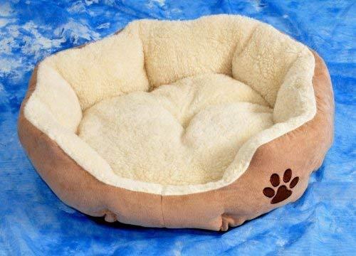 nanook Hundebett/Katzenbett Hazel in Wildlederoptik - beige mit Teddyfellkissen Größe L 70 cm Ø