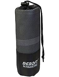 Toalla gris de microfibra, 70 x 140 cm: compacta, absorbente y muy ligera, es ideal para la natación, gimnasia y para el uso en excursiones como toalla de manos que seca rápido + bolsa de transporte