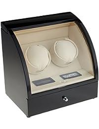 Lindberg & Sons - UB8071blcr - Estuche con bobinadora para 2 Relojes Automaticos - 2 Rotores Potentes - Interior de terciopelo color crema