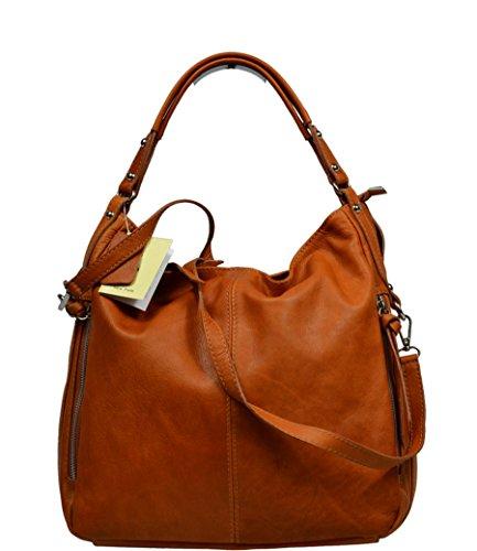 Schöne praktische Leder Camel Handtasche aus Leder Gemma Camel über die Schulter (Dkny Taschen Leder)