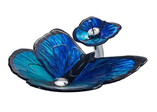 SKQC Waschbecken, gehärtetes Glas Boot-förmige Waschbecken Waschbecken aus gehärtetem Glas Badezimmer Balkon 620 * 450 * 155mm Blue