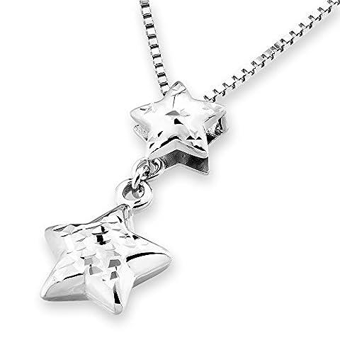 14K White Gold Diamond-Cut Double Stars Necklace (16