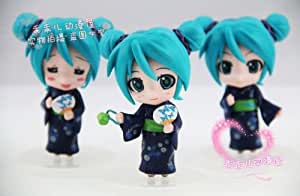 Mini 3 Figurines lot Miku Hatsune Yukata Peignoir Vert Mig