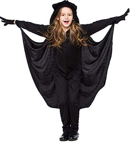 Miscoloor Unisex Fledermaus Kinder Kostüm Batman Halloween Karnevalskostüm Faschingskostüm Overalls Mit Cape Größe (Kinder Selbstgemachten Superhelden Kostüm)