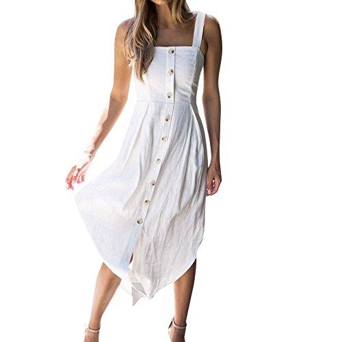 VJGOAL Damen Kleiden, Frauen Elegant Einfach Bohemien Süß Dress Sexy Solid Taste Sling Langer Rock(Weiß,34)