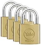 Yale YE1/20/111/4 - Lot de 4 Cadenas Laiton massif 20 mm, 4 clés identiques - pour Valise de Voyage, bagages, Sac à Dos