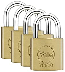 Yale YE1/20/111/4 Brass Padlock 40 mm(4 Pack), 20mm (Pack of 4), Set of 4 Pieces