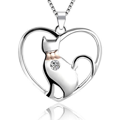 LYTOPTOP süße Katzen-Halskette aus 925 Sterlingsilber mit Herz-Anhänger für Frauen und Mädchen -