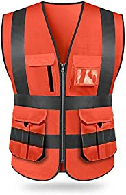 KKmoon SFVest High Visibility Reflective Safety Vest Reflective Vest Multi Pockets Workwear Security Working C