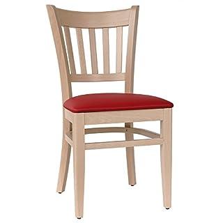 abritus Set 2 Stühle Stuhl Esszimmerstuhl Buche Massiv Natur Polster rot *T002