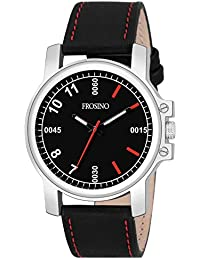 Frosino Mens Fashion Analog Quartz Watch with Grey Synthetic Band Unique Big Face Number Retro Casual Wrist Watches Classic Business Wristwatch- Silver Grey - FRAC101830