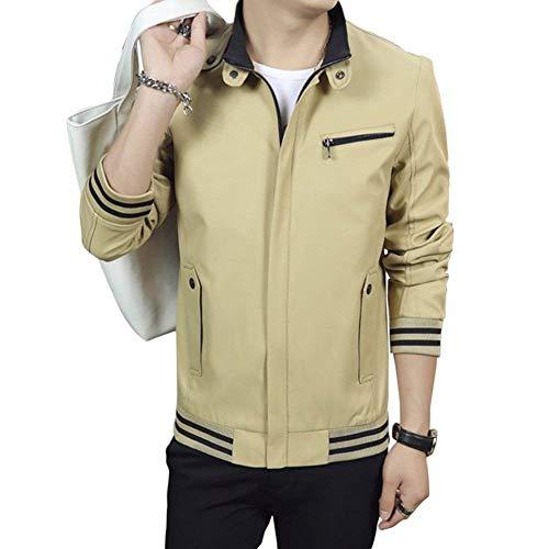 Herren Herbst Jacke Slim Fit Bomberjacke Herrenjacke Langarm Stehkragen Mit Zipper Outerwear Coat (Color : Kaki, Size : M)
