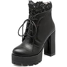 1290c39ce355 YE Damen Blockabsatz Plateau High Heel Stiefeletten mit Schnürung und  Reißverschluss Hinten 11cm Absatz Elegant Ankle