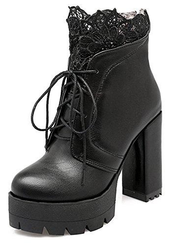 YE Damen Blockabsatz Plateau High Heel Stiefeletten mit Schnürung und Reißverschluss Hinten 11cm Absatz Elegant Ankle Boots