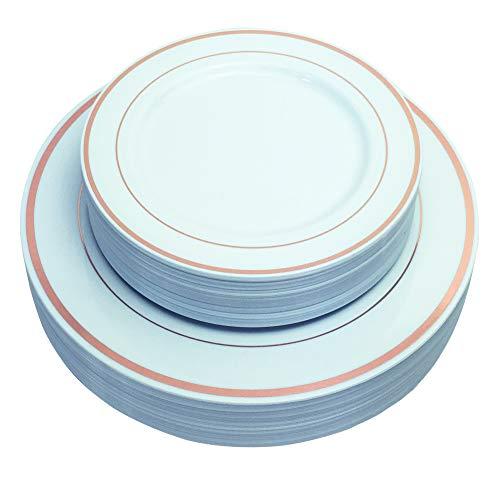 Gold-service Plate (125/50 Stück Kunststoff Teller mit goldenem Silberrand Service für 25 Gäste, 25 Einweggeschirr mit 25 Speisetellern, 25 Desserttellern, optional 25 Gabeln, 25 Messer, 25 Löffel, rose gold, Plates)