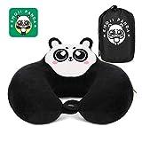 Reise Nackenkissen aus Memory Foam │ Originell Panda Design Nackenhörchen │ Tragbar Reisekissen mit Super Weich Bezug │ Optimale Unterstützung für Nacken und Kopf