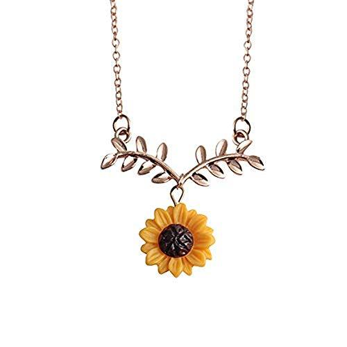 SMILEQ Mode Sonnenblumen Blatt Hängende Halskette Mit Reizenden Blumen Schlüsselbein Ketten (Gold)