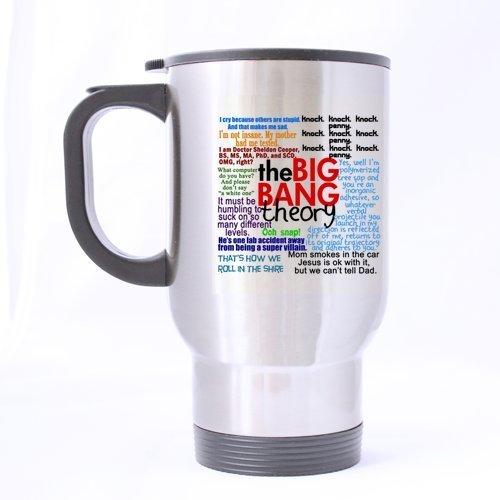 The Big Bang Theory Quotes Mug de voyage en acier inoxydable 396,9 gram (Sliver), Funny Quotes Mug à café, tasse à café/thé avec poignée. (Two sides)