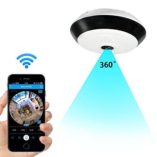 Telecamera IP wireless Wi-Fi a 360° Indoor per la sicurezza domestica,videocamera HD 960p con audio a 2 vie,registrazione remota,rilevamento del movimento,visione notturna IR per iPhone e Android