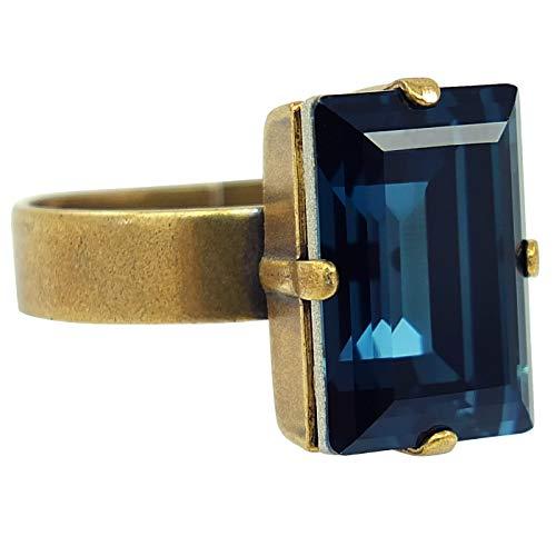 nobel-schmuck Damen-Ring mit Kristall von Swarovski® Blau Gold Größe Variabel