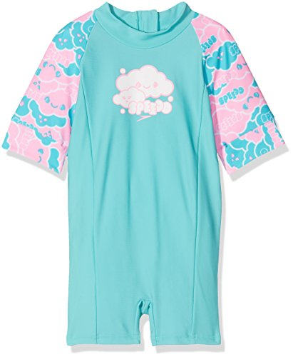 Speedo Baby Cosmic Cloud Essential All in One Suit Swimwear, Bali Blue/White/Pink Splash, 9-12