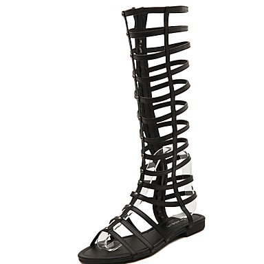 zhENfu Donna Sandali Estate Gladiator PU Casual tacco piatto Plaid nero kaki Black