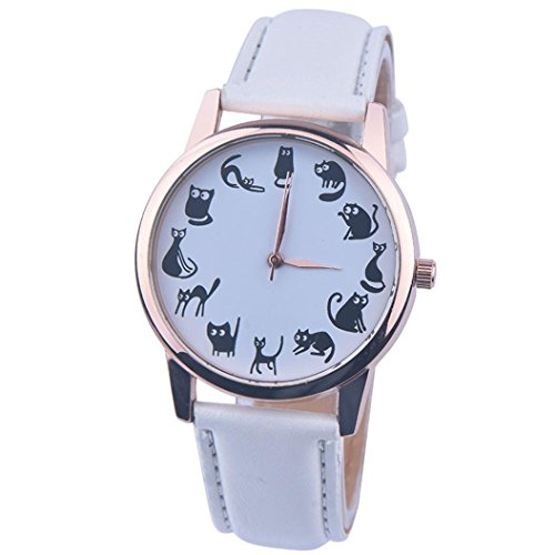 Vovotrade Amor Animal Ojos Cuero Band Analog Quartz Vogue Reloj De Pulsera (Blanco)